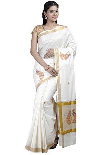 JISB zari fancy Peacock Embroidered kerala cotton saree with Blouse fabric (JIS...