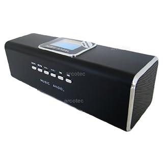 Music Angel Lautsprecher Boxen Handy, LCD Mini Lautsprecher, FM Radio, USB, MicroSD, Soundstation, tragbare Musik Box, mp3 Player, Handy Boxen mit Akku, Weckfunktion, Line-In-Eingang & Display schwarz