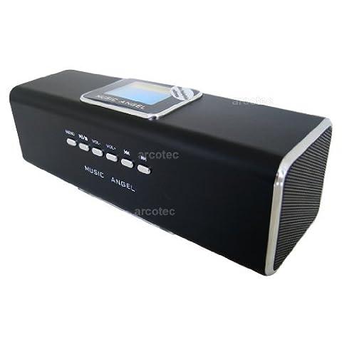 Music Angel Lautsprecher Boxen Handy, LCD Mini Lautsprecher, FM Radio, USB, MicroSD, Soundstation, tragbare Musik Box, mp3 Player, Handy Boxen mit Akku, Weckfunktion, Line-In-Eingang & Display
