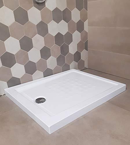 Piatto doccia acrilico rinforzato cm H 5,5 x 80 x 120 bianco con piletta cromata filo/sopra pavimento