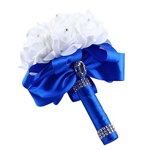 showsing-Valentine's Day Gift Wedding Bouquet-Bianco Damigella d' Onore Bouquet-Crystal Rose Perla da Sposa Fiori di Seta Artificiale Blue 40