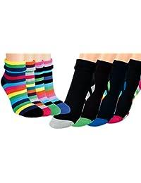Vitasox Damen Thermo Socken mit Umschlag und Innenfrottee Baumwolle Thermosocken Damensocken bunte Ringel Ringelsocken 4er und 8er Set 2 Farbvarianten