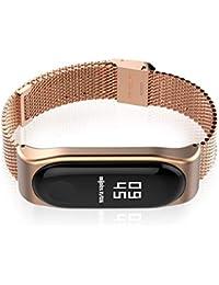 Banda de Reloj de Pulsera de Acero Inoxidable Mijobs Malla magnética Inteligente de reemplazo de la Correa de Banda de Pulsera para Xiaomi Mi Banda 3 del Reloj (Color: Oro Rosa)