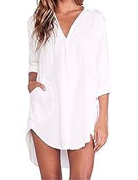 ZANZEA Femme Chemise Manches Longue Tunique Lâce Mini Robe Mousseline T-Shirt Tops Haut Blouse