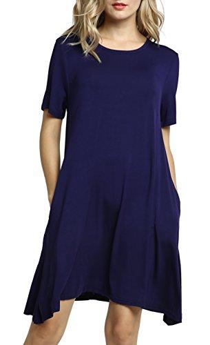 Afibi Damen Plus Größe Kurz Hülse Taschen Lose Beiläufig Swing T-Shirt Kleider (XL, Navy blau) Scoop Neck Shift Dress