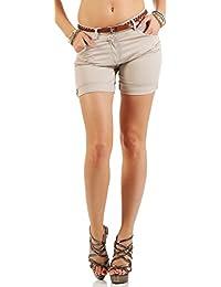 malito Pantalón Cortos incl. Cinturón Hot Pants Color Uni 1018 Mujer