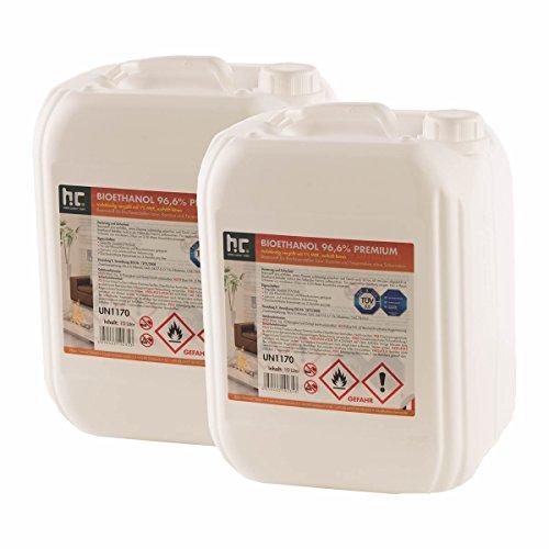 6 x 10 L Bio Ethanol Premium 96,6% für Kamin - versandkostenfrei - im handlichen 10 L Kanister - TÜV SÜD zertifiziert