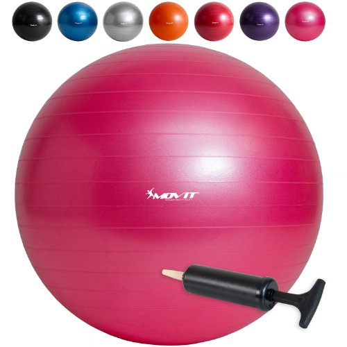 MOVIT Gymnastikball »DYNAMIC BALL« inkl. Handpumpe, 65 cm, Pink, Maximalbelastbarkeit bis 500kg, berstsicher, Fitness-ball, Sitzball, Yogaball, Pilates-ball, Balance