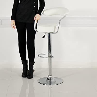 Casino Faux Leather Chrome Bar Stool White