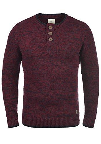 REDEFINED REBEL Mateo Herren Strickpullover Pullover Feinstrick mit Grandad-Ausschnitt aus 100% Baumwolle Meliert Bordeaux