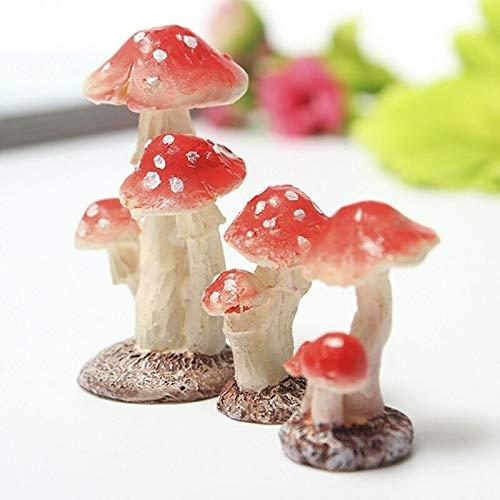 LACKINGONE 1* Mini Resina Fungo Fungo Piante Vaso Ornamenti da Giardino gnomi Decora 2_Heads