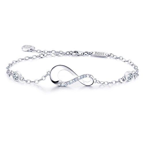 Billie Bijoux Infinity Unendlichkeit Symbol Damen Armband 925 Sterling Silber Zirkonia Armkette Verstellbar Charm Armband für den Muttertag (3- silver)