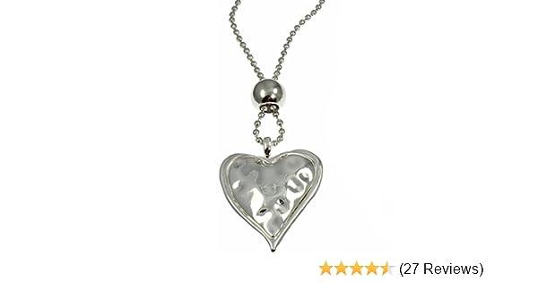 UK Ladies Designer Long Matt Silver Large Heart Statement Necklace Jewellery
