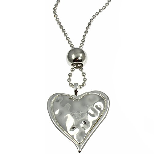Halskette mit Großem Herz-Anhänger Silberfarben Vintage-Stil, Herz-Anhänger gehämmerter Anhänger, lange Kette, Modeschmuck (1020 Kostüme)