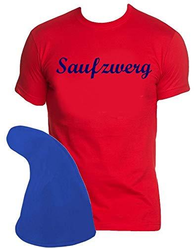 Coole-Fun-T-Shirts ZWERGEN Kostüm Set Saufzwerg T-Shirt + Zwergenmütze rot-blau Gr.XXL