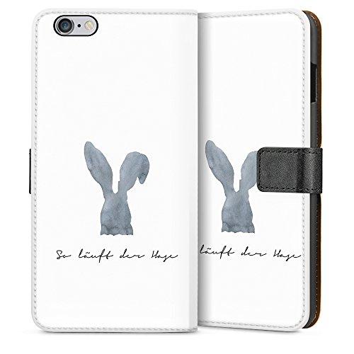 artboxONE Handyhülle iPhone 6/6S So läuft der Hase - Typografie - Smartphone Case mit Kunstdruck hochwertiges Handycover kreatives Design Cover aus hartem Kunststoff von Liliana Michalska Sideflip Case weiß