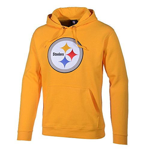 NFL Hooded Sweater Hoody Pittsburgh Steelers Tek Patch gelb in L (LARGE) (Steelers Patch)