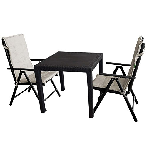 5tlg gartengarnitur gartentisch kunststoff 79x79cm rattan optik 2x hochlehner 7 fach. Black Bedroom Furniture Sets. Home Design Ideas