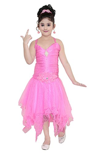 YAYAVAR Girls Net Made Pink Colored Casual/Party Wear Frock for Girls -...