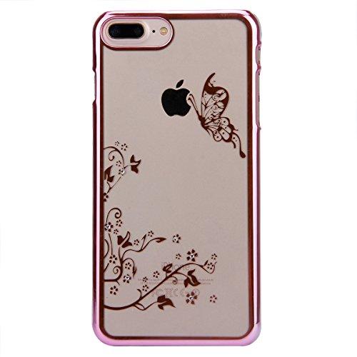 iPhone 7 Custodia, iPhone 7 Cover, iPhone 7 4.7 Custodia Trasparente, JAWSEU Sparkles Cristallo Chiaro Super Sottile Case Custodia Cover per iPhone 7 con Placcatura telaio con il modello del dente di  Farfalla Rosa