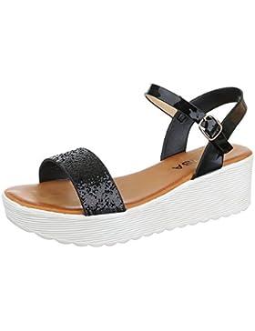 Komfortsandalen Damen Schuhe Römersandalen Keilabsatz/ Wedge Keilabsatz Schnalle Ital-Design Sandalen / Sandaletten