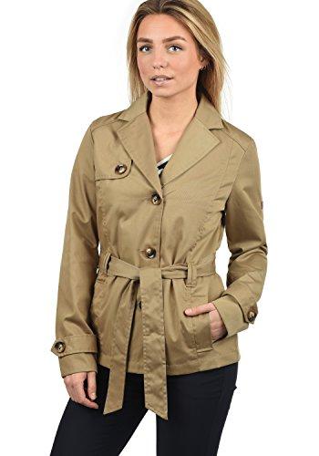 DESIRES Trixie Damen Trenchcoat Mantel kurze Jacke mit Gürtel, DESIRES Trixie Damen Trenchcoat Jacke mit Umlege-Kragen, Größe:XL, Farbe:Sand (4073)
