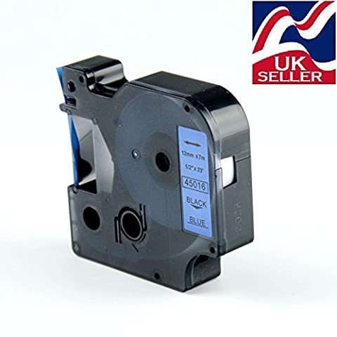 Dymo compatible D1 tape cartridge 45016 Black/blue 12mm by 7m for Dymo label manager printers
