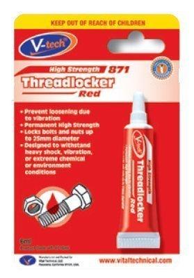 Preisvergleich Produktbild V-tech Threadlocker Red Klebstoff für Gewindeschrauben hohe Stärke, 6 ml, Rot