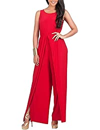 Mono Largo Jumpsuit Fiesta Monos Vestir Sin Mangas Ladies Jumpsuits Para Mujer Going Out Rojo 2XL