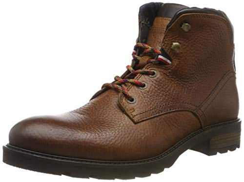 Tommy Hilfiger Herren Winter Textured Leather Boot Klassische Stiefel, Braun (Cognac 606), 40 EU