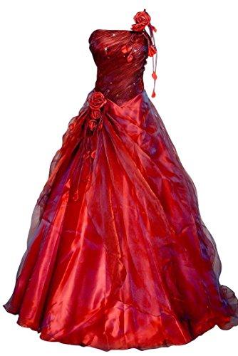 Romantic-Fashion Damen Ballkleid Abendkleid Brautkleid Lang Modell E231 A-Linie Blüten Perlen Pailletten DE Bordeauxrot Größe 36 (Bodenlange Robe)