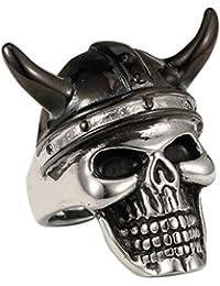 XBOMEN El Anillo de Acero Inoxidable para Hombre Negro Horn Sombrero del Casco de Vikingos del