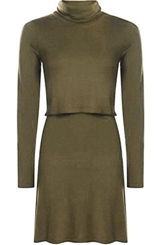 Womens Lässig Etuikleider Damen Rollkragen Lagig Langärmlig Skaterkleid Size 8-26 Khaki