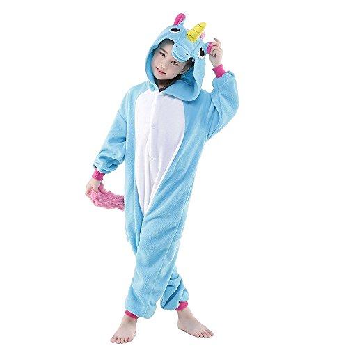 Kreative 3D Einhorn Pyjama Nachtwäsche Cosplay Kostüm Unicorn Schlafanzüge Für Jungen Mädchen (138 -148cm, Blau (Kostüm Halloween Für Geek)