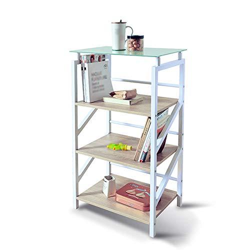 BOOK CASE OLDJTK 4 Tiers Bücherregal Cube Bücherregal Display Rack Holz Metall Bücherregal (Color : White) -