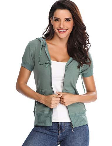 Frauen Kapuzenpulli Fashion Damen Oberteile Kurzarm Ärmel Leichte Jacke mit Taschen Zip up Jersey Hoody Elegant Grün - XS -