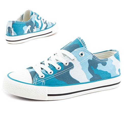 Trendige Unisex Damen Kinder Herren Schnür Sneaker Low Top Schuhe Canvas Textil Blau Camouflage