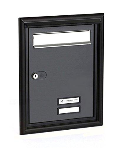 Puerta Postale completa para exterior empotrable a pared Silmec-Barnizado gris hierro