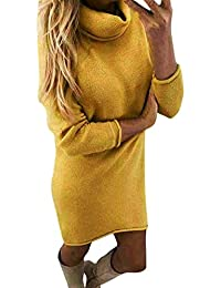 Yidarton Robe Pull Femme Manches Longues Robe d'Hiver en Tricot Elegant