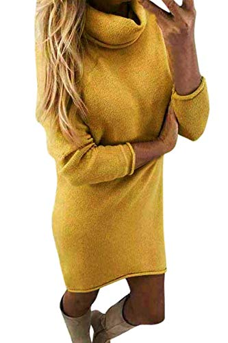Yidarton Winter Damen Pullover Sweater Strickkleid Warm Elegant Langarm Strickpullover Lang (X-Large, Z-Gelb)