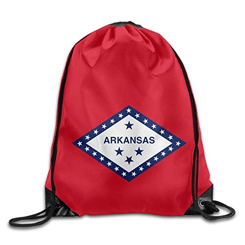 American Oregon State Flag Sackpack Drawstring Bags Polyester Backpack Outdoor Sports Gym Bag Yoga Runner Daypack Team Training Gymsack Big Capacity (Twin Sides) Arkansas State Flag -