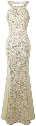 Angel-fashions Damen V-Ausschnitt Paillette Halbe Ärmel Meerjungfrau Mantel Maxi Hochzeitskleid...