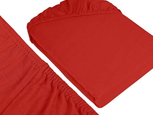 npluseins klassisches Jersey Spannbetttuch - erhältlich in 34 modernen Farben und 6 verschiedenen Größen - 100% Baumwolle, 90-100 x 200 cm, rot - 3