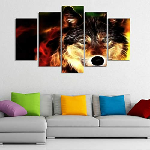 Wall Art Pictures Home Decoration Poster Living Room 5 Pezzi Animal Glowing Wolf HD Stampato Moderno su Tela