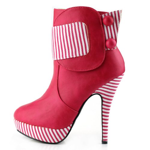 Show Story gestreifte button rei?verschluss hohe ferse stiletto plattform kn?chel stiefel,LF30303 Hot Pink