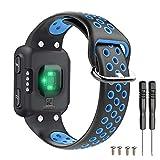 T-BLUER Watch Band Compatible for Garmin Forerunner 35 Bracelet,Accessoire de Courroie de Bracelet en Silicone Respirant Compatible pour Garmin Forerunner 35,Noir Bleu