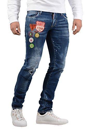 DSQUARED2 Jeans - Herren s74lb0326 schmal Patchwork Jeans blau - Blau, 48 - (32