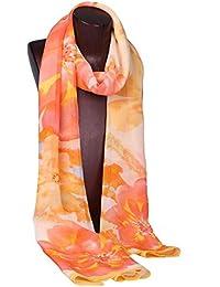 dama Impreso Bufandas Seda Georgette Calentar Suave Chal de la decoración. 180 * 55cm . orange . 180 * 55cm