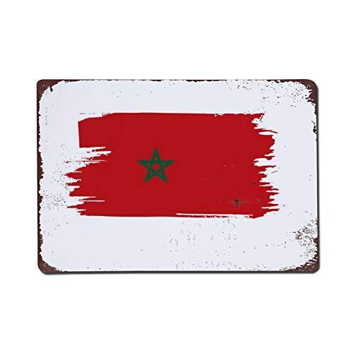 wendana Marokko-Flagge, Metallschilder, Vintage-Wanddekoration, Blechschilder, für Garage, Kinderzimmer, Weihnachten, Geburtstag, Geschenk