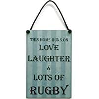 This Home Runs On Love Laughter & Lots Of Rugby Gift Handmade Wooden Home Sign/Plaque 459